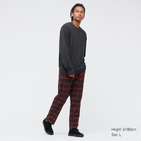 Men Flannel Stretch Patterned Easy Ankle Length Trousers