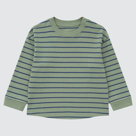 Babies Toddler Soft Touch Striped Crew Neck Long Sleeved Top