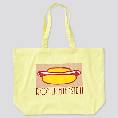 Large Eco-Friendly Printed Tote Bag (Roy Lichtenstein), Yellow, Medium