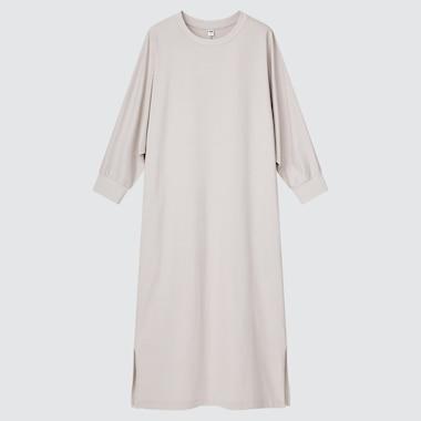 Women Smooth Cotton Dolman 3/4-Sleeve Dress, Light Gray, Medium