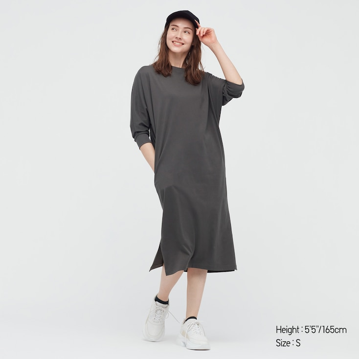 Women Smooth Cotton Dolman 3/4-Sleeve Dress, Gray, Large