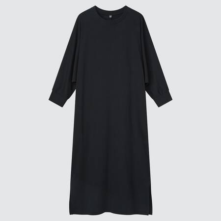Damen Sanftes Baumwoll Kleid mit 3/4-Fledermausärmeln