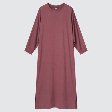 Women Smooth Cotton Dolman 3/4-Sleeve Dress, Wine, Medium