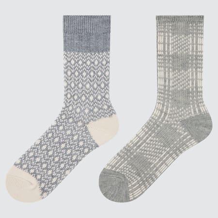 WOMEN HEATTECH Fair Isle Socks (Two Pairs)