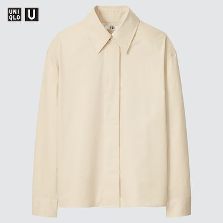Women Uniqlo U Cotton Satin Shirt Jacket