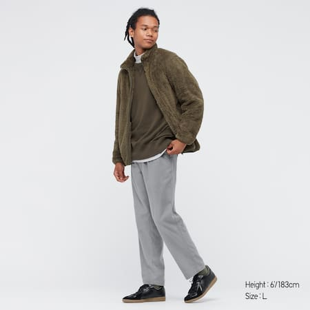 MEN Flannel Stretch Easy Ankle Length Trousers