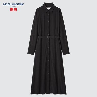 WOMEN RAYON LONG-SLEEVE SHIRT DRESS (INES DE LA FRESSANGE)
