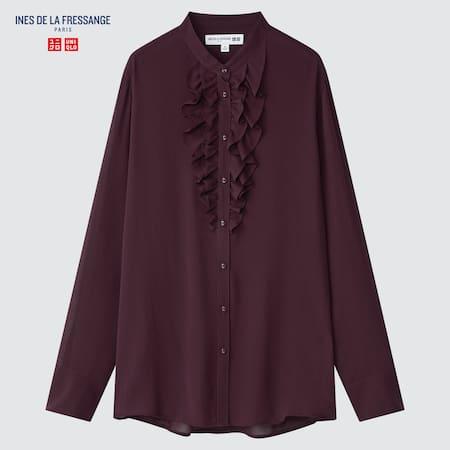 Women Ines de la Fressange 100% Silk Frilled Long Sleeved Blouse