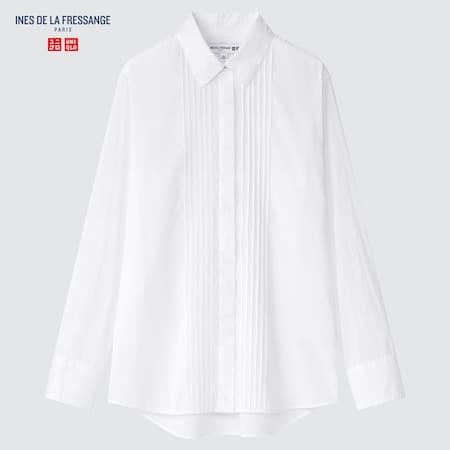 Women Ines de la Fressange Cotton Pintucked Shirt