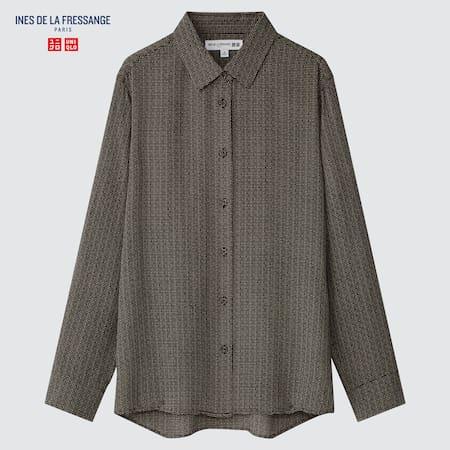 Women Ines de la Fressange 100% Silk Printed Long Sleeved Blouse