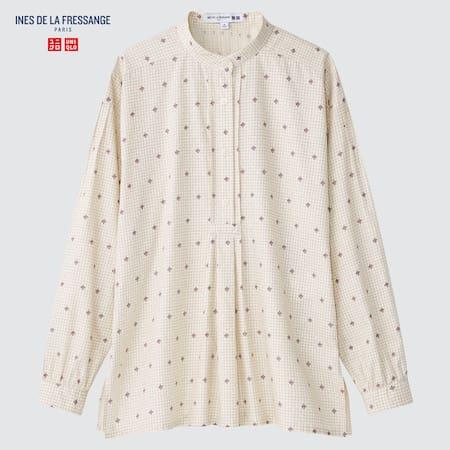 Women Ines de la Fressange Cotton Twill Printed Pullover Shirt
