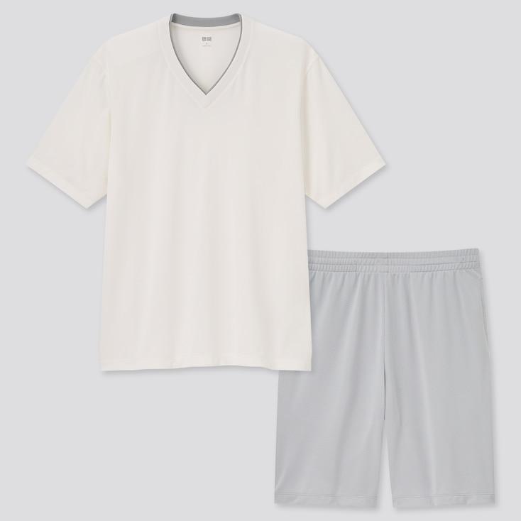Men Airism Mesh V-Neck Short-Sleeve Set, White, Large