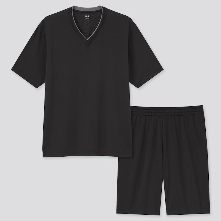 Men Airism Mesh V-Neck Short-Sleeve Set, Black, Large