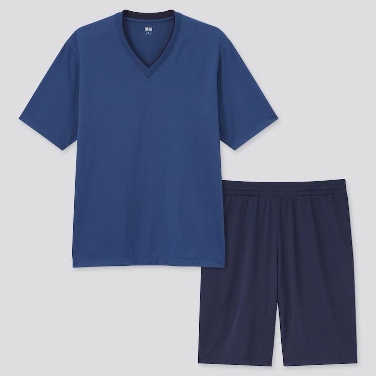 Men Airism Mesh V-Neck Short-Sleeve Set, Blue, Large