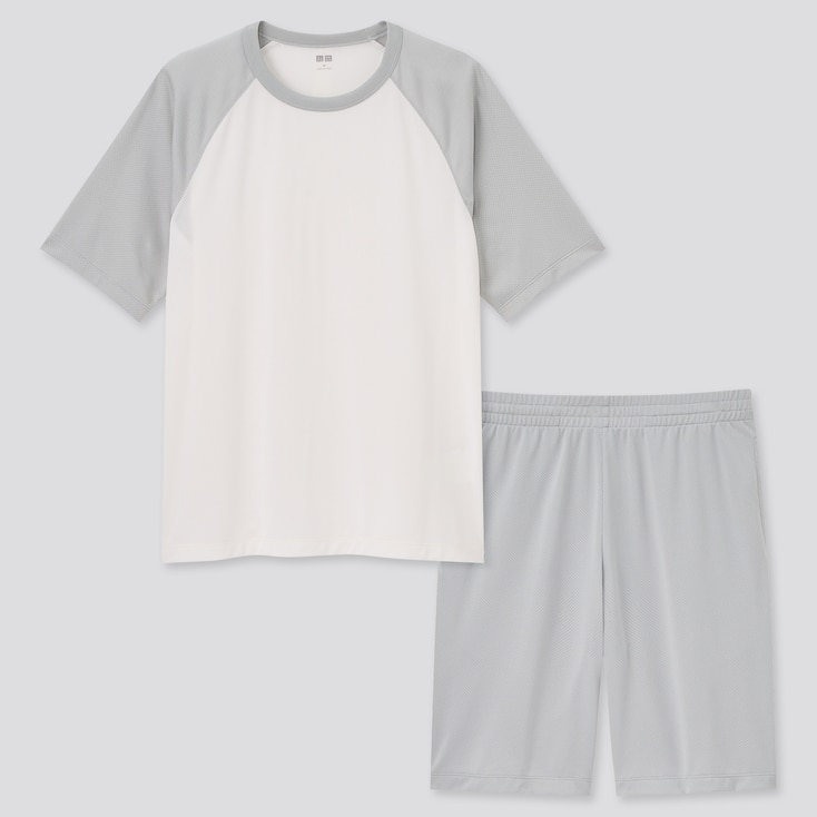 Men Airism Mesh Crew Neck Short-Sleeve Set, White, Large