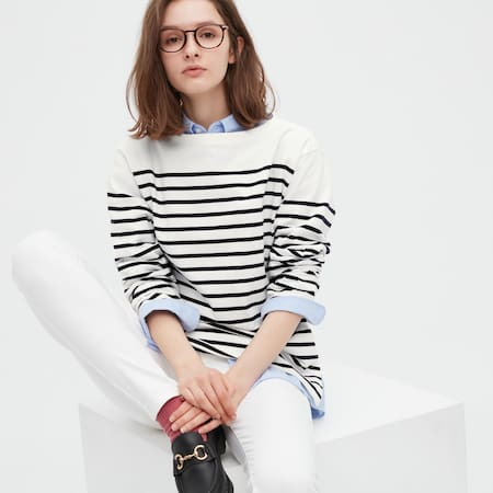 Damen Gestreiftes oversized Langarmshirt