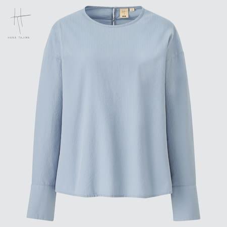 Women Hana Tajima Cotton Dobby Long Sleeved T-Shirt Blouse