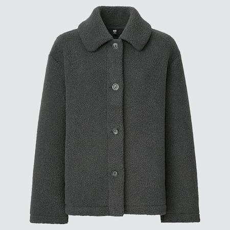 Women Fleece Pile Lined Single Breasted Short Coat