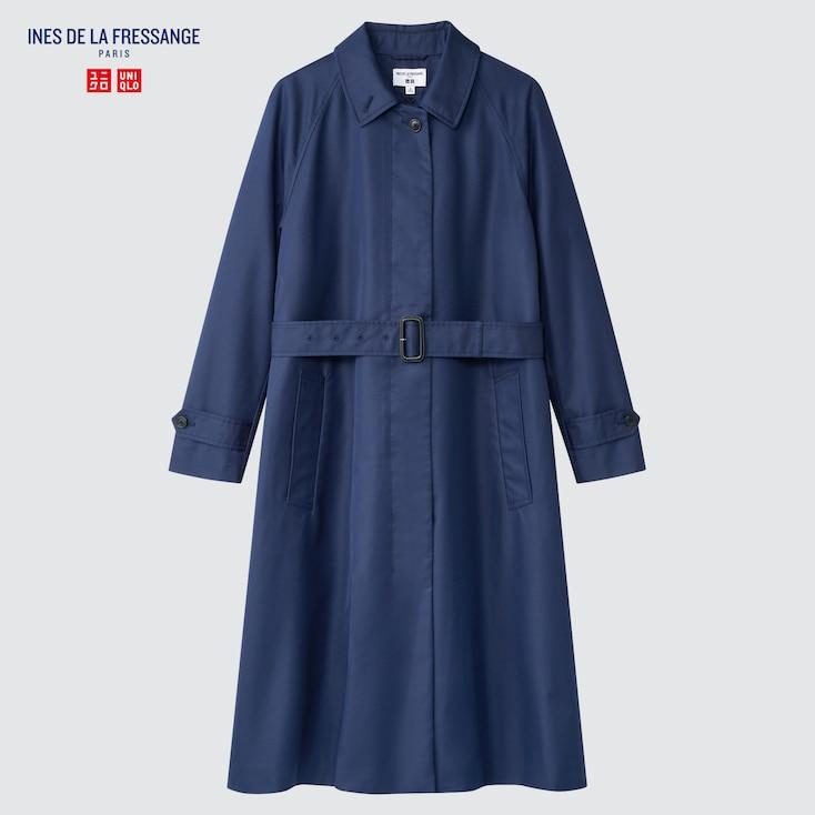 Women Single Breasted Coat (Ines De La Fressange), Blue, Large