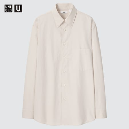 Men Uniqlo U Broadcloth Regular Fit Shirt (Regular Collar)
