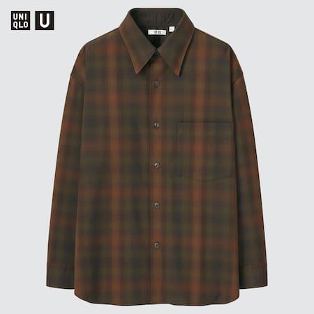 Men Uniqlo U Heavy Flannel Oversized Fit Checked Shirt