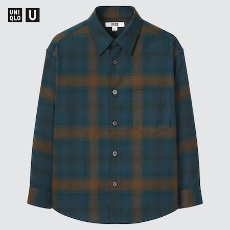 Kids Uniqlo U Heavy Flannel Oversized Checked Shirt