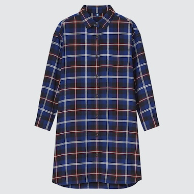 GIRLS FLANNEL CHECKED LONG-SLEEVE DRESS