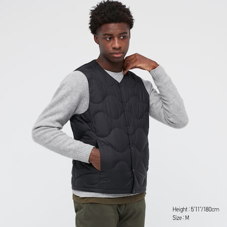 Men Ultra Light Down Wave Quilted Compact Vest