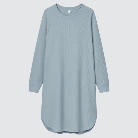 Damen Kurzes langärmliges Kleid in Waffeloptik