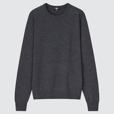 Women Extra Fine Merino Crew Neck Sweater, Dark Gray, Medium