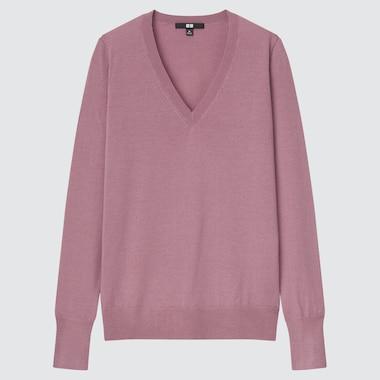 Women Extra Fine Merino V-Neck Sweater, Pink, Medium