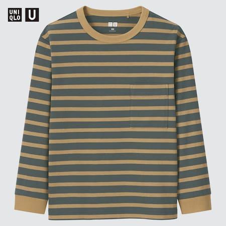 Kinder Uniqlo U Gestreiftes Langarmshirt