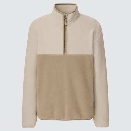 Men Fleece Colour Block Half-Zipped Pullover