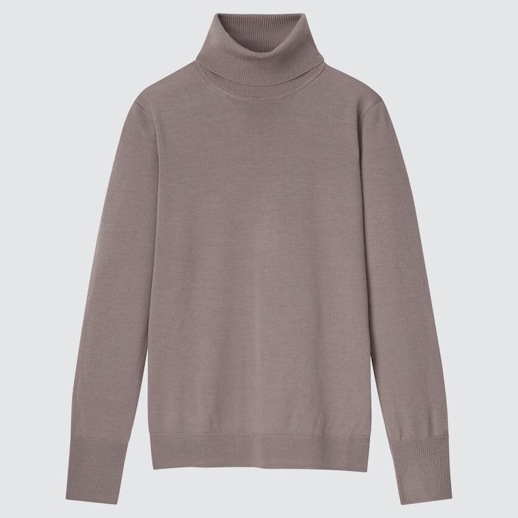 Women Extra Fine Merino Turtleneck Sweater, Brown, Large