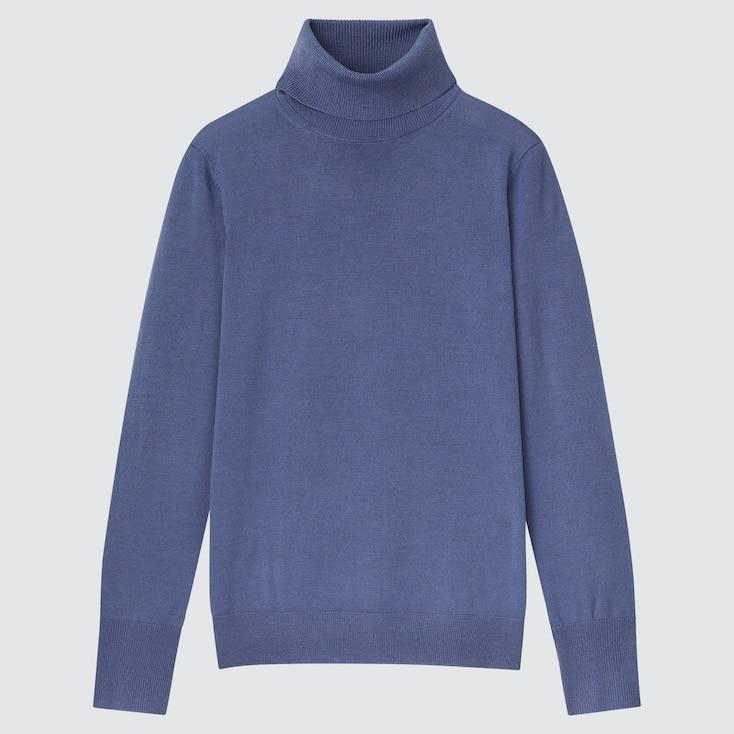 Women Extra Fine Merino Turtleneck Sweater, Blue, Large