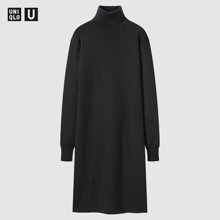 Women Uniqlo U Merino Blend Turtleneck Long Sleeved Dress