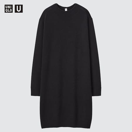Women Uniqlo U 3D Knit Seamless Merino Crew Neck Long Sleeved Dress