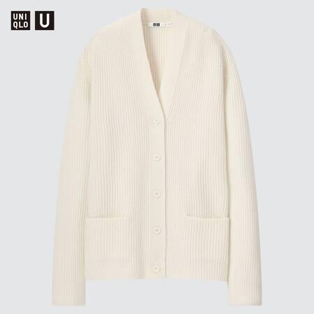 Women Uniqlo U 100% Premium Lambswool Ribbed Cardigan