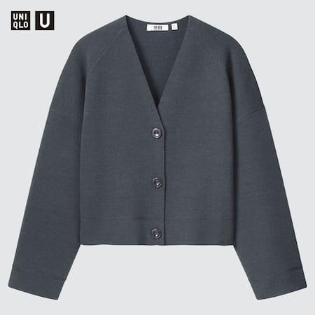 Women Uniqlo U Merino Blend Cropped Cardigan