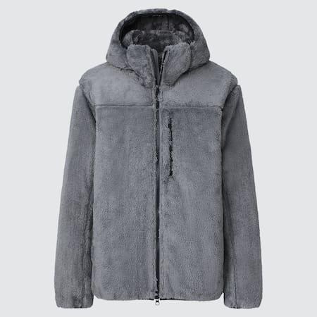 Men Windproof Fluffy Fleece Hoodie