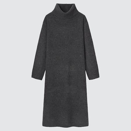 Damen Sanftes Soufflé Langarm Strickkleid mit Rollkragen