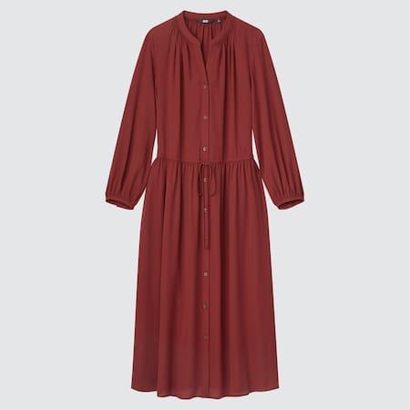 Damen Langes Kleid mit 3/4-Ärmeln und Zugband