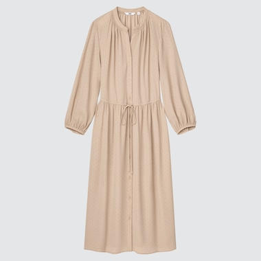 DAMEN Gemustertes langes Kleid mit 3/4-Ärmeln und Zugband