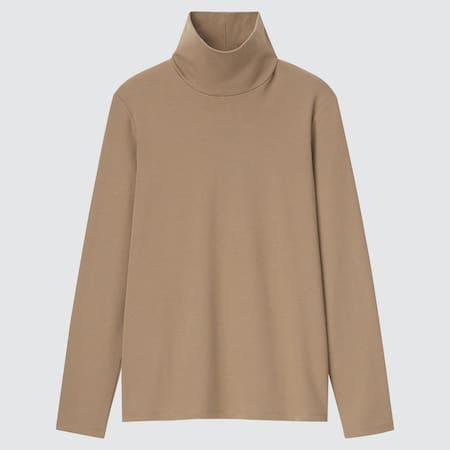 Women Cotton Stretch Turtleneck Long Sleeved T-Shirt