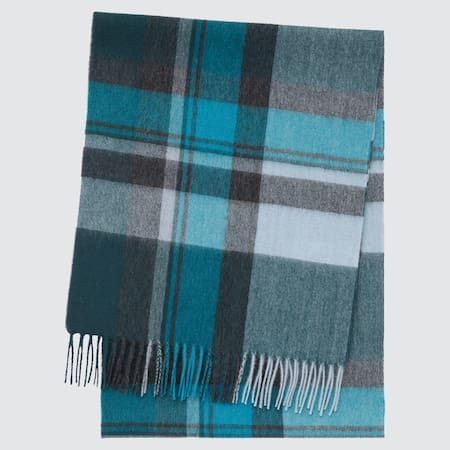 100% Cashmere Checked Scarf