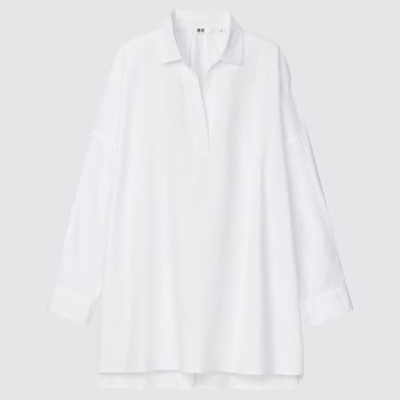 Women Cotton Relaxed Skipper Collar 3/4 Sleeved Shirt
