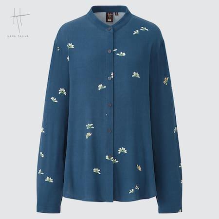 Women Hana Tajima Viscose Georgette Band Collar Long Sleeve Shirt