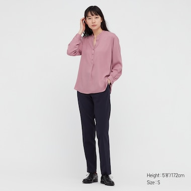 WOMEN RAYON RELAXED LONG-SLEEVE BLOUSE