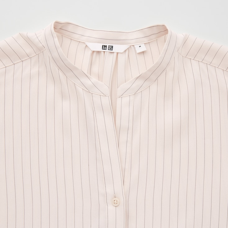 Women Rayon Striped Relaxed Long-Sleeve Blouse, Off White, Large