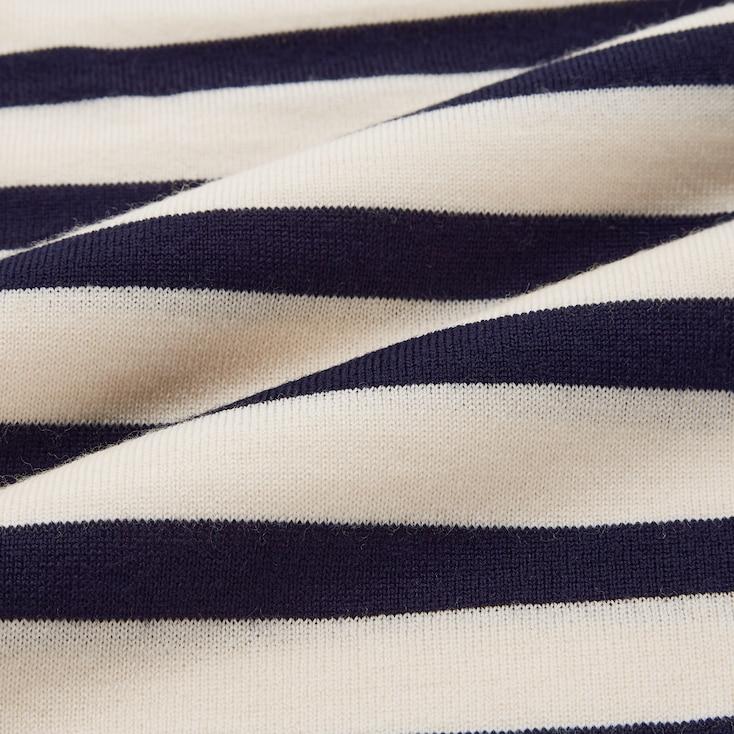 Women 3d Knit Extra Fine Merino Striped Crew Neck Long-Sleeve Sweater (Ines De La Fressange), Navy, Large